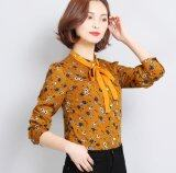 New Korean Women S Chiffon Shirt With Bow Long Sleeved Stand Collar Vintage Printed Shirt Plus Size M 3Xl Intl ถูก