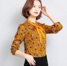 ราคา New Korean Women S Chiffon Shirt With Bow Long Sleeved Stand Collar Vintage Printed Shirt Plus Size M 3Xl Intl ราคาถูกที่สุด