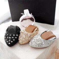 ซื้อ ผู้หญิงหรูหราใหม่หญิงหญิง Rhinestones แบนลูกกลิ้งไข่เดียวรองเท้านุ่ม เงิน นานาชาติ ใหม่ล่าสุด
