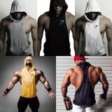 New Men Gym Clothing Bodybuilding Stringer Hoodie Tank Top Muscle Hooded Shirt Black Intl เป็นต้นฉบับ