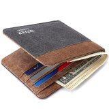 ซื้อ New Men S Short Wallet Creative Canvas Pocket Wallet Grey Coffee Intl ใหม่