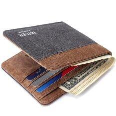 ซื้อ New Men S Short Wallet Creative Canvas Pocket Wallet Grey Coffee Intl Yateer ถูก