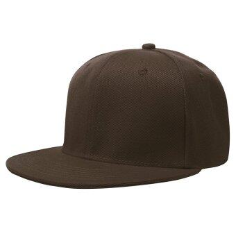 NEW RETRO Plain Fitted Cap New Baseball Hat Solid Flat Bill Visor Blank Color Coffee - intl