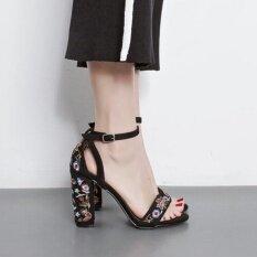 ขาย รองเท้าแตะรองเท้าแตะใหม่ 2017 ย้อนยุคสตรีเซ็กซี่รองเท้าแตะรองเท้า Size35 40 สีดำ ถูก ใน จีน