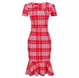 ส่วนลด สินค้า New Slim Houndstooth Pencil Dress Package Hip Fishtail Dress Send Belt Plus Size Intl Intl