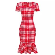ขาย New Slim Houndstooth Pencil Dress Package Hip Fishtail Dress Send Belt Plus Size Intl Intl Unbranded Generic ออนไลน์