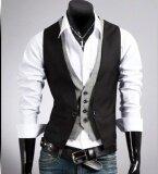 ราคา สไตล์ใหม่ แฟชั่น ชาย บาง วีคอชุดสูทเสื้อกั๊กลายสก๊อต เย็บ ปลอม 2 เสื้อกั๊ก เสื้อกั๊ก ชาย นานาชาติ Unbranded Generic