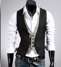 ขาย สไตล์ใหม่ แฟชั่น ชาย บาง วีคอชุดสูทเสื้อกั๊กลายสก๊อต เย็บ ปลอม 2 เสื้อกั๊ก เสื้อกั๊ก ชาย นานาชาติ Unbranded Generic ออนไลน์