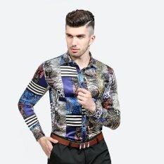 ซื้อ New Style Fashion Men Clothes Slim Fit Casual Long Sleeve Shirt Collar Print Shirt Serpentine Pattern Intl ใน จีน
