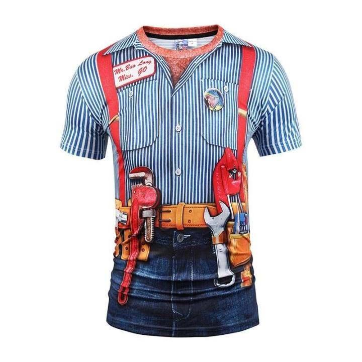ราคา สไตล์ใหม่ผู้ชายฤดูร้อนแฟชั่นเสื้อแขนสั้นเสื้อยืด 3D ...