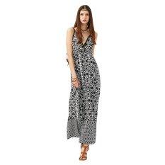 ซื้อ New Style Nation Printing S*xy V Neck Backless Woman Braces Dress Intl ออนไลน์