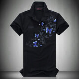 ขาย New Summer Men Business Butterfly Print Short Sleeved Polo Shirt Black Thailand ถูก