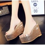 New Summer Transparent Sequins Thick Bottom Slope With Fish Mouth High Heeled Sandals Waterproof Muffin Slippers Slip Gold Intl ใหม่ล่าสุด