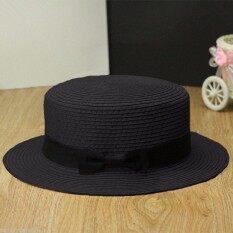 ขาย New Women Derby Straw Hat Trilby Bow Bowknot Beach Porkpie Cap Boater Ribbon Band Black ถูก ใน Thailand