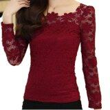 ราคา New Women Fashion Lace Crochet Blouse Long Sleeved Lace Tops Plus Size M 5Xl Red Wine Intl เป็นต้นฉบับ