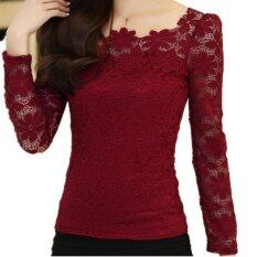 ขาย New Women Fashion Lace Crochet Blouse Long Sleeved Lace Tops Plus Size M 5Xl Red Wine Intl ออนไลน์