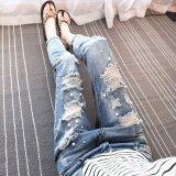 ทบทวน ที่สุด ผู้หญิงใหม่ Ripped กางเกงยีนส์กางเกงยีนส์พลุปักกลวงออกล้างกางเกงยีนส์ น้ำเงิน นานาชาติ