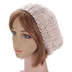 New Women Lady Winter Warm Knitted Crochet Hat Slouch Baggy Beret Beanie Cap Beige ใน Thailand
