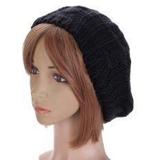 ซื้อ New Women Lady Winter Warm Knitted Crochet Hat Slouch Baggy Beret Beanie Cap Black ถูก จีน