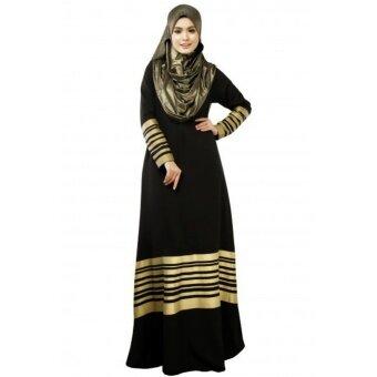New Women Muslim Maxi Dress Stripes Zipper Long Sleeves Abaya Kaftan Islamic Robe Long Dress Black - intl