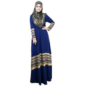 New Women Muslim Maxi Dress Stripes Zipper Long Sleeves Abaya Kaftan Islamic Robe Long Dress Dark Blue - intl