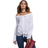 ซื้อ New Women Off Shoulder Blouse Fold Over Slash Neck Slit At Cuff Self Tie Asymmetric Hem Casual Top White Intl
