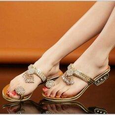 ส่วนลด ใหม่ผู้หญิง Rhinestone ส้นรองเท้าแตะรองเท้าแต่งงานรองเท้าแตะ Unbranded Generic