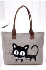 ซื้อ New Women Shoulder Bag Canvas Bag Cute Cat Bag Office Lunch Bag Gray ใหม่ล่าสุด