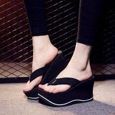 ขาย ใหม่รองเท้าสตรีรองเท้าแตะรองเท้าแตะรองเท้าส้นสูง Skidproof รองเท้าชายหาดสีดำ ถูก