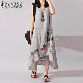 ใหม่ ZANZEA พลัสขนาด S-5XL สตรีชุดราตรีผ้าฝ้ายลินินฤดูร้อน (สีเทา) - นานาชาติ-