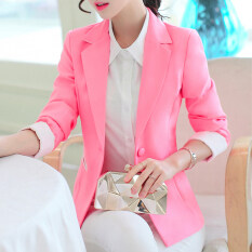 ราคา สามารถ Ni เกาหลีสลิมผอมแขนยาวฤดูใบไม้ผลิและฤดูใบไม้ร่วงเสื้อกันหนาวชุดนางสาว สีชมพู ถูก