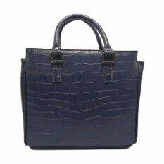 ส่วนลด สินค้า กระเป๋าถือ กระเป๋าแฟชั่น กระเป๋าสะพายข้างผู้หญิง กระเป๋าหนังวัวแท้ ลายจระเข้ แบรนด์ Ninza รุ่น Sp 10 สีน้ำเงิน