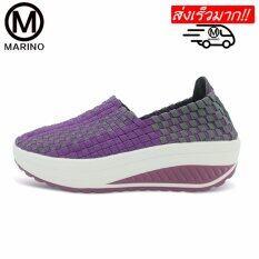 รองเท้าคอมฟอร์ท รองเท้าเสริมความสูงสำหรับผู้หญิง รองเท้าแฟชั่น No A017 Purple เป็นต้นฉบับ