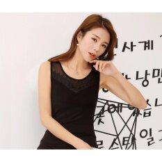 ส่วนลด Nw Fashion เสื้อแขนกุดแฟชั่นแต่งลูกไม้คอวี สีดำ Nw Fashion ใน กรุงเทพมหานคร