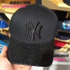 ขาย ซื้อ Ny Style Black Baseball Hat Sequins Curved Eaves Unisex Korean Tide Spring And Summer Casual Cap Travel Visor Intl ใน จีน