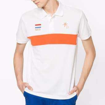 OASIS เสื้อโปโลชาย เสื้อโปโลคอปก แขนสั้น ผ้าฝ้าย เชียร์ฟุตบอล ชิงแชมป์เปี่ยนระดับโลก ประเทศเนเธอร์แลนด์  รุ่น MPSFF-1173-NED สีขาว