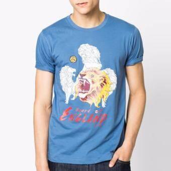OASIS เสื้อยืด T-Shirt คอกลมแฟชั่น รุ่น MTFFF-1175-2-ENG สีฟ้า