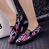 ราคา Ocean 2017 ใหม่ผู้หญิงแฟชั่นรองเท้าแบนผ้าใบคนขี้เกียจรองเท้า Graffiti สีชมพู สนามบินนานาชาติ ออนไลน์
