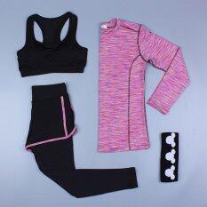 โปรโมชั่น แฟชั่นผู้หญิงชุดชั้นในกีฬาเสื้อผ้าชุดสามชิ้นชุดออกกำลังกายโยคะการเพาะกายพักผ่อน หลากสี นานาชาติ จีน