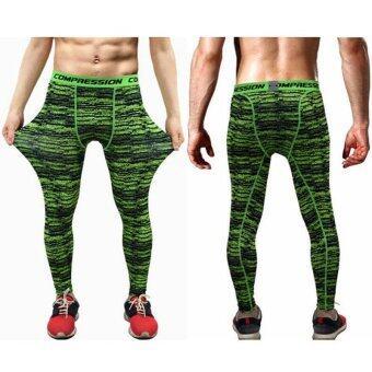 Ocean ผู้ชายกางเกงเคลื่อนไหวออกกำลังกายการออกกำลังกายวิ่งกางเกงยาวยืดหยุ่นเร็วแห้ง (สีเขียว)-สนามบินนานาชาติ