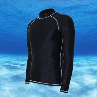 Ocean ผู้ชายกีฬาชุดว่ายน้ำกันน้ำได้อย่างรวดเร็วแห้งแขนยาวดำน้ำชุดว่ายน้ำดำน้ำดูปะการัง Rashguards (สายสีเทา) - นานาชาติ-