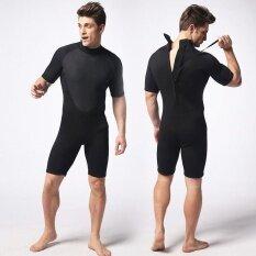 Ocean ผู้ชาย Wetsuits 3 มิลลิเมตรสั้นชุดว่ายน้ำสยามไซส์ใหญ่ยืดหยุ่นสวมใส่สบายอบอุ่น สีดำ นานาชาติ จีน