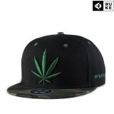 Ocean New Fashion Men Hats Reggae Hip Hop Hemp Leaf Canvas Embroidery Flat Edge Cap Baseball Cap Black Intl เป็นต้นฉบับ