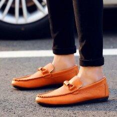 Ocean รองเท้าแฟชั่นผู้ชายใหม่ลื่นไถลคุณภาพดีมือเส้นขับรถรองเท้า สีเหลือง นานาชาติ ใหม่ล่าสุด