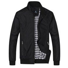 ราคา โอเชี่ยนแฟชั่นผู้ชายเสื้อแจ็คเก็ตน้ำหนักเบาธุรกิจยอดนิยมรอบคอเสื้อลำลอง สีดำ นานาชาติ ออนไลน์ จีน