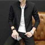 โอเชี่ยนแฟชั่นผู้ชายเสื้อแจ็คเก็ตน้ำหนักเบายอดนิยมรอบคอเสื้อลำลอง สีดำ นานาชาติ ถูก