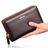 โปรโมชั่น Ocean New Fashion Wallets Cowhide Bifold Zipper Mobile Phone Wallet Brown Intl Unbranded Generic