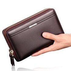 ขาย Ocean New Fashion Wallets Cowhide Bifold Zipper Mobile Phone Wallet Brown Intl ใน จีน