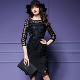 ซื้อ Ocean New Fashion Women Dresses Han Edition Hook Flower Hollow Out Lace Zipper Big Size Dress Black Intl ออนไลน์