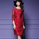 ราคา Ocean New Fashion Women Dresses Han Edition Hook Flower Hollow Out Lace Zipper Big Size Dress Red Intl ใน จีน
